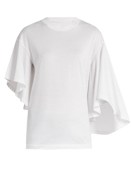 Ericdress White Pleated Irregular T-Shirt