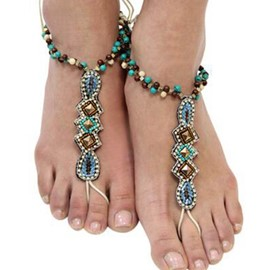 Ericdress Retro Resin & Rhinestone Seed Bead Design Anklets(A Pair)