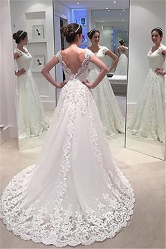 Ericdress A Line Backless Appliques V Neck Wedding Dress