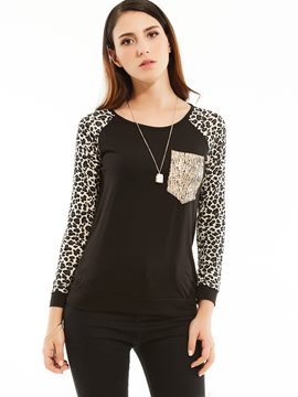 Ericdress Slim Leopard Color Block T-shirt