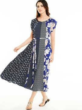 Ericdress Round Collar Floral Print Patchwork Belt Maxi Dress