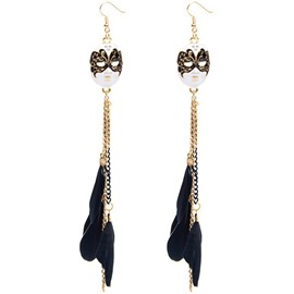 Ericdress Mask and Feather Tassels Retro Pendant Earrings