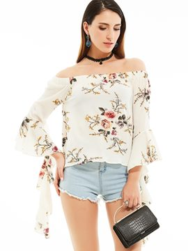 Ericdress Slash Neck Flower Print Blouse