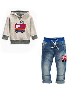 Ericdress Cartoon Hoodie Jean Pants 2-Pcs Boys Outfit