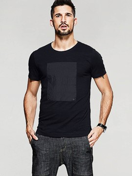 Ericdress Plain Patched Regular Short Sleeve Slim Men's T-Shirt