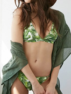 Ericdress Green Leaf Print Cross Strap Bikini Set