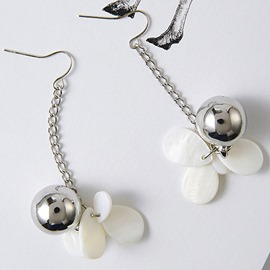 Ericdress Metal Ball & White Petals Design Long Earrings