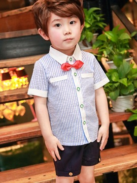 Ericdress Stripe Bowknot Shorts Boys 2-Pcs Suit