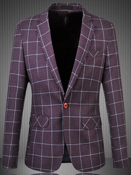 Ericdress Pocket Plaid Design Large Size Casual Men's Blazer