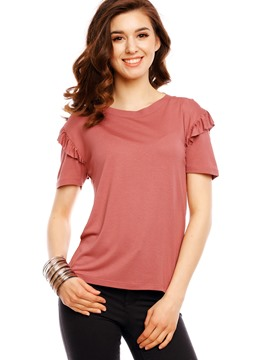 Ericdress Plain Ruffles Short Sleeve T-Shirt