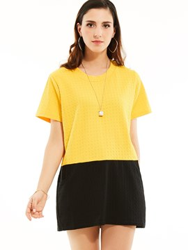Ericdress Round Neck Color Block Mid-Length T-shirt