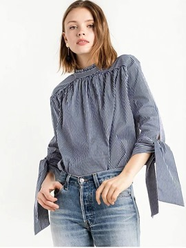 Ericdress Stripped Loose Ties Blouse