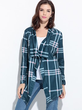 Ericdress Plaid Falbala Collar Cardigan T-Shirt