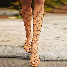 Ericdress Lace Up Knee High Gladiator Sandals