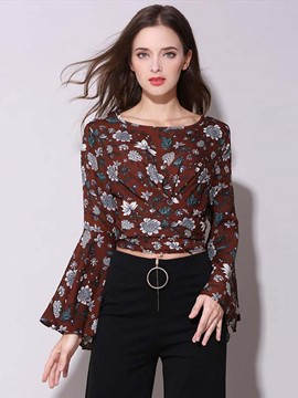Ericdress Floral Chiffon Flare Sleeve Blouse