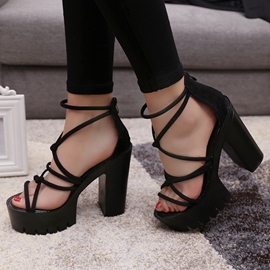 Ericdress Black Platform Cross Strap Chunky Sandals