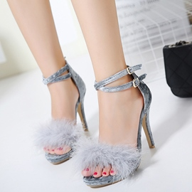 Ericdress Fashion Feather Open Toe Stiletto Sandals