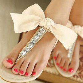 Ericdress Lovely Rhinestone&bowknot Clip Toe Flat Sandals