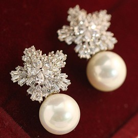 Ericdress Snowflake Zircon & Pearl Decor Stud Earrings