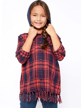 Ericdress Plaid Tassel Hooded Girls Shirt