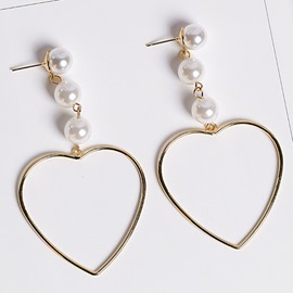 Ericdress Hollow Heart-Shaped Design Beading Earrings