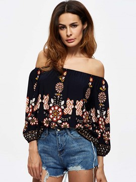 Ericdress Embroidery Loose Slash Neck Blouse