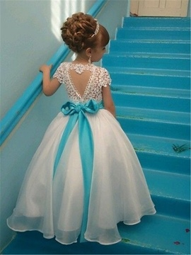 Ericdress Short Sleeves Beaded Sashes Lace Flower Girl Dress