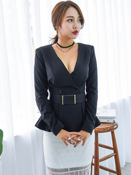 Ericdress V-Neck Slim Blazer