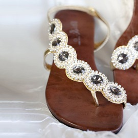 Delicate Jeweled Thong Flat Sandals