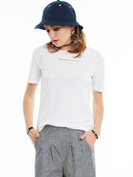 Ericdress Cut White Short Sleeve T-Shirt