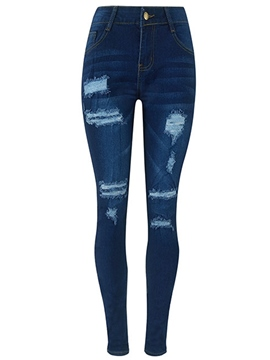Ericdress High Waisted Ripped Women's Jeans