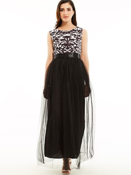 Ericdress Round Neck Sleeveless Color Block Maxi Dress