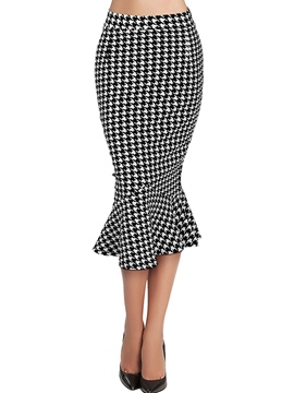 Ericdress High Waisted Grid Package Buttocks Women's Skirts