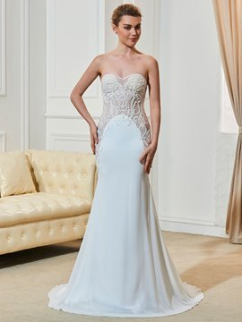 Ericdress Sweetheart Sheath Beaded Wedding Dress With Wrap