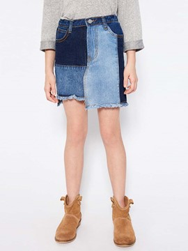Ericdress Asymmetrical Color Block Denim Mini Skirt