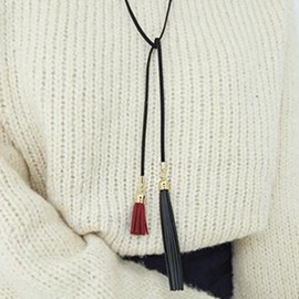 Ericdress Long PU Tassels Sweater Chain Necklace