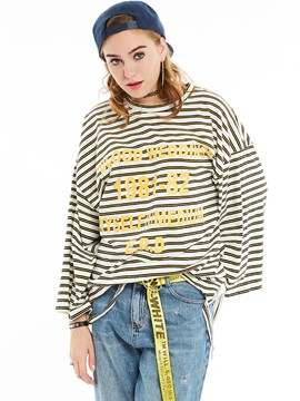 Ericdress Loose Stripped Letters Printed Oversizd T-Shirt