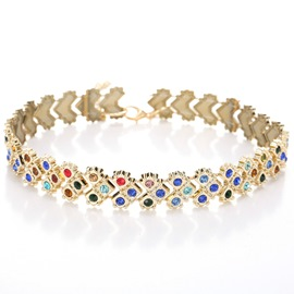 Ericdress Colored Rhinestone Inlaid E-Plating Golden Necklace