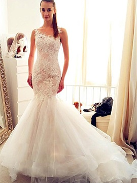 Ericdress Mermaid Illusion Back Appliques Tulle Wedding Dress