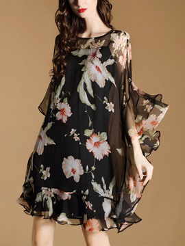 Ericdress Floral Print Batwing Sleeve See-Through Casual Dress