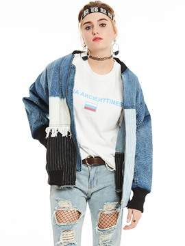 Ericdress Color Block Patchwork BF Style Denim Outerwear