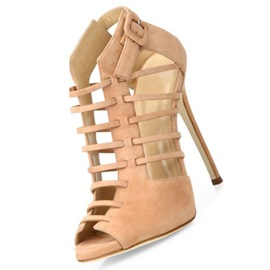 Ericdress Nude Peep Toe Buckle Stiletto Sandals