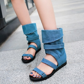 Ericdress Chic Denim Buckles Open Toe Flat Sandals
