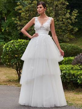 Ericdress V Neck Appliques A Line Wedding Dress