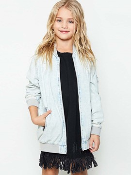 Ericdress Rose Embroidered Zipper Girls Denim Jacket