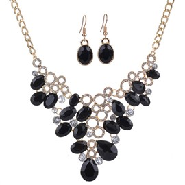 Ericdress Black Water Droplets Design Alloy Hollow Jewelry Set