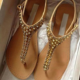 Brown Golden Spikes Flat Sandals