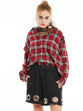 Ericdress Plaid Hollow Oversized Blouse