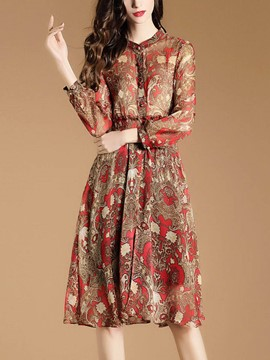 Ericdress Floral Print Stand Collar Single-Breasted Casual Dress