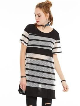 Ericdress Color Block See-Through Oversized T-Shirt